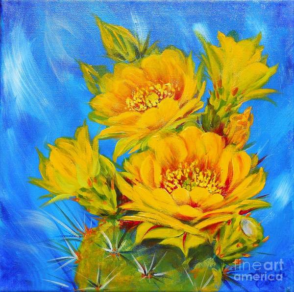Southwest Poster featuring the painting Prickly Pear In Bloom by Summer Celeste