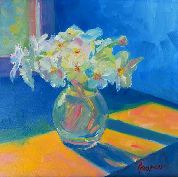 Art Poster featuring the painting Primroses In Spring Light - Still Life by Patricia Awapara