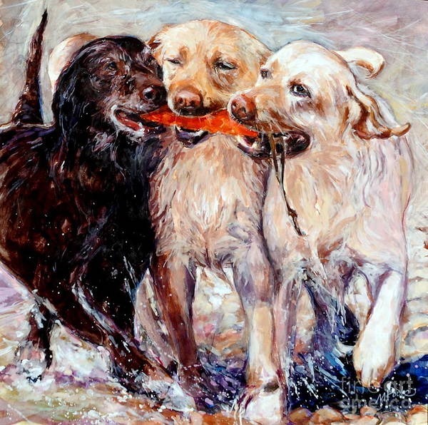 Dogs Retrieving Poster featuring the painting Retrieving Fools by Molly Poole