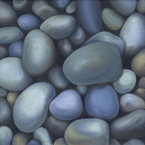Rocks Poster featuring the painting River Rocks by Natasha Denger