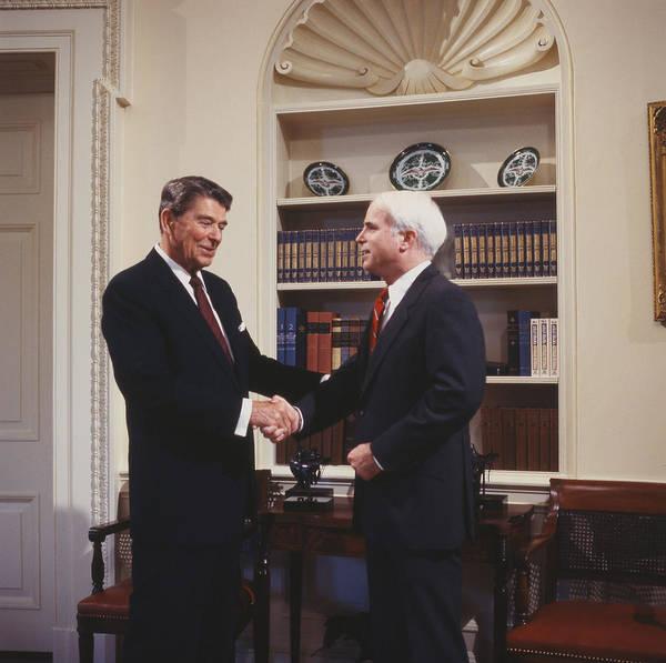 Ronald Reagan And John Mccain Poster featuring the digital art Ronald Reagan And John Mccain by Carol Highsmith