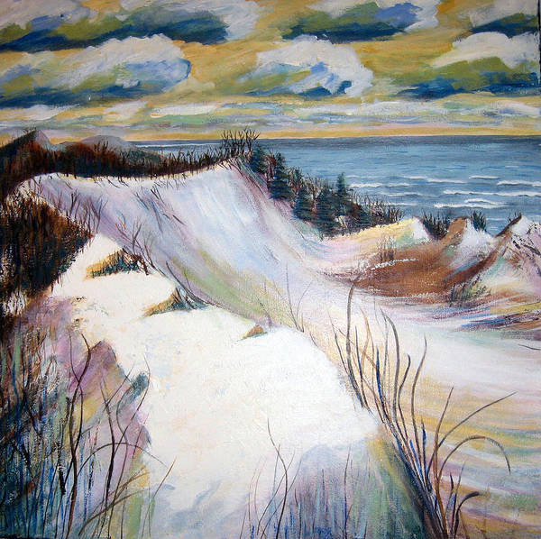 Snow Poster featuring the painting Snow On The Dunes by Art Nomad Sandra Hansen