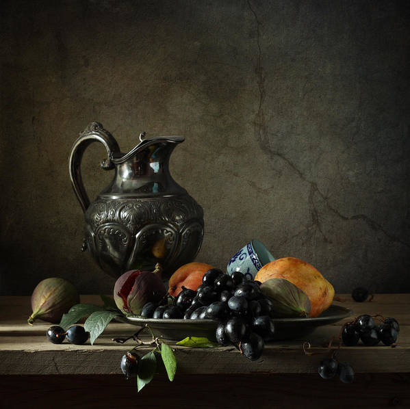 Fine Art Photograph Still Life With A Jug Poster featuring the photograph Still Life With A Jug And Fruit by Diana Amelina