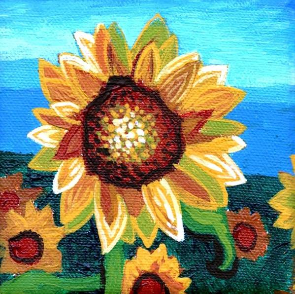 Sunflowers Poster featuring the painting Sunflowers And Blue Sky by Genevieve Esson