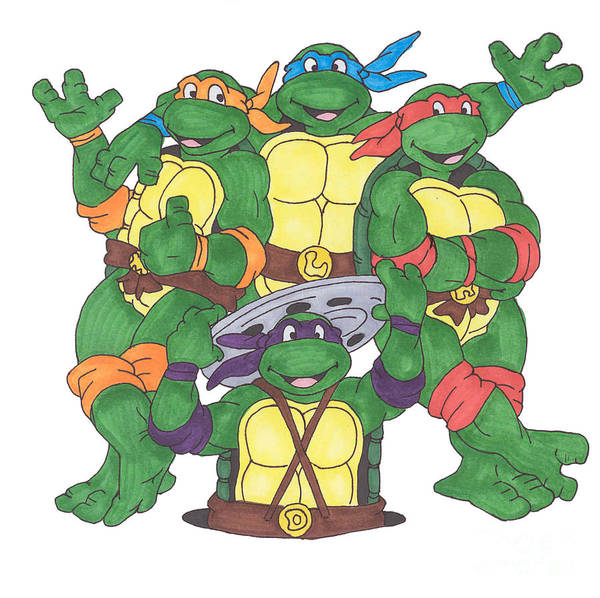 Fanart Poster featuring the painting Teenage Mutant Ninja Turtles by Yael Rosen