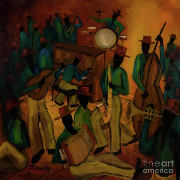 Jazz Poster featuring the painting The Red Hat Octet And Friends by Larry Martin