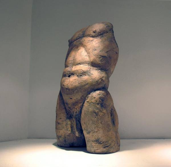 Nude Man Sculpture Poster featuring the sculpture Torso And Bottom by Flow Fitzgerald