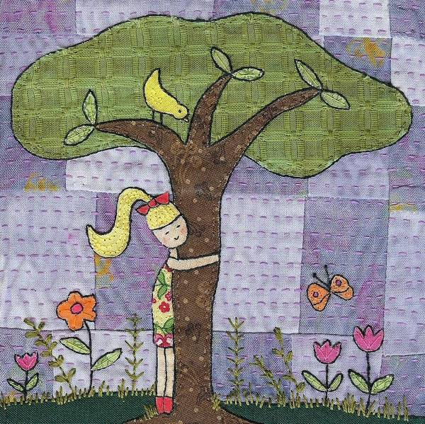 Whimsical Poster featuring the tapestry - textile Tree Hugging by Julie Bull