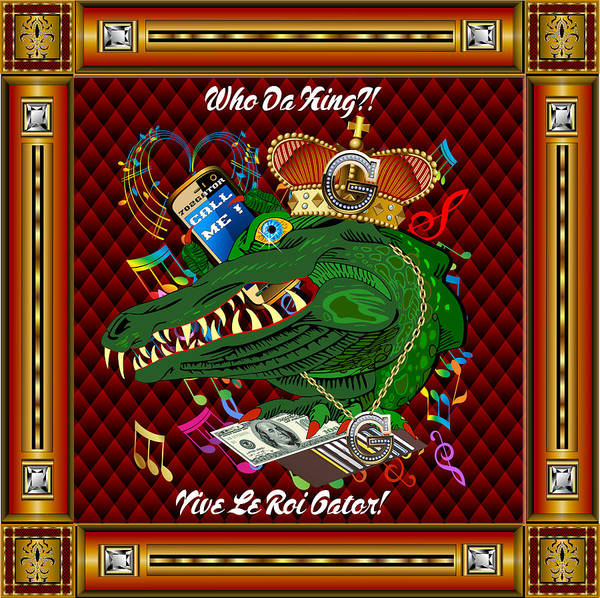 King Poster featuring the digital art Vive Le Roi Gator 2 by Bill Campitelle
