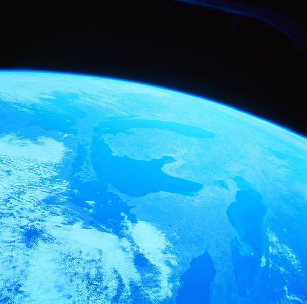 Square Poster featuring the photograph Earth Viewed From A Satellite by Stockbyte