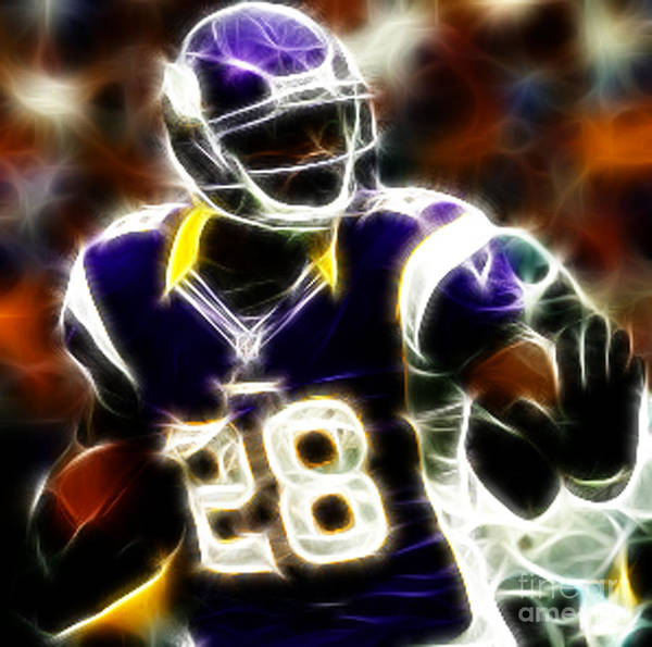 Adrian Peterson 28 - Football - Fantasy Poster featuring the photograph Adrian Peterson 02 - Football - Fantasy by Paul Ward