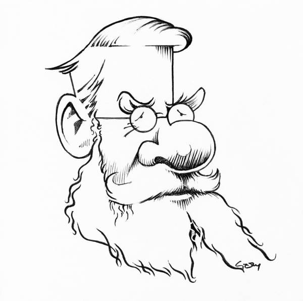Alfred Russel Wallace Poster featuring the photograph Alfred Wallace, Caricature by Gary Brown