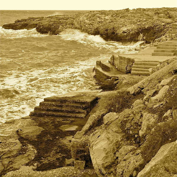 Ocean Poster featuring the photograph Ancient Steps Of Italy by Tika Muslin