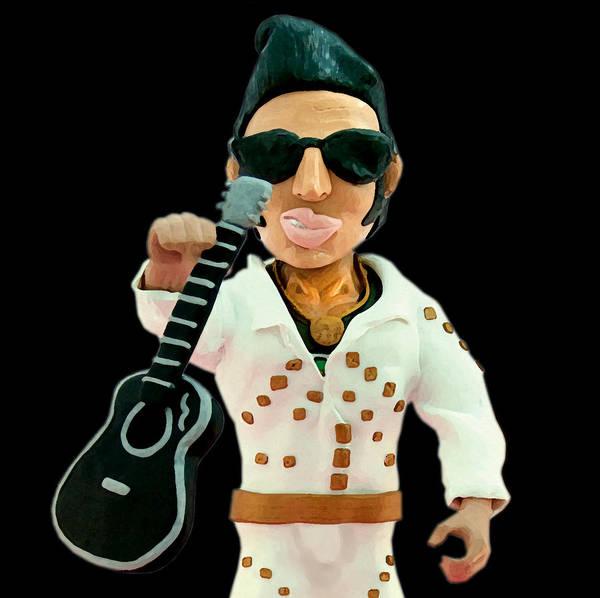 Elvis Presley Poster featuring the sculpture Elvis Presley by Louisa Houchen