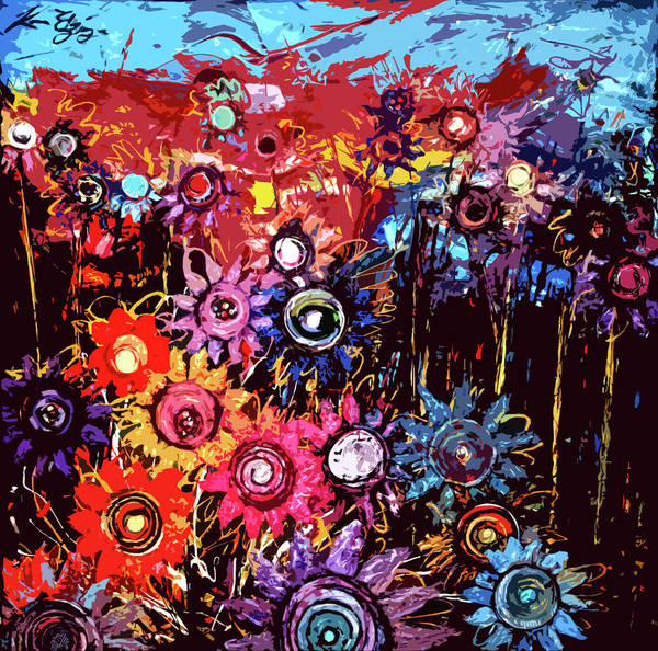Paintings Poster featuring the painting Flower Garden by Karen Elzinga