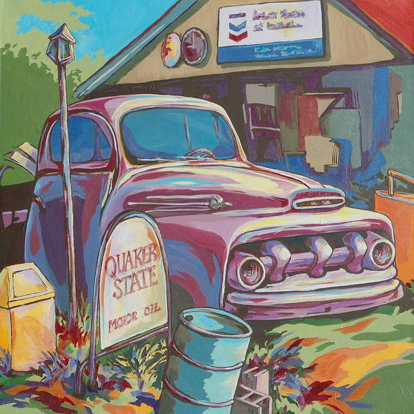 Car Poster featuring the painting Heart Of A Lion by Sandy Tracey