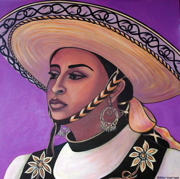 Portrait Poster featuring the painting La Vaquera by Susan Santiago