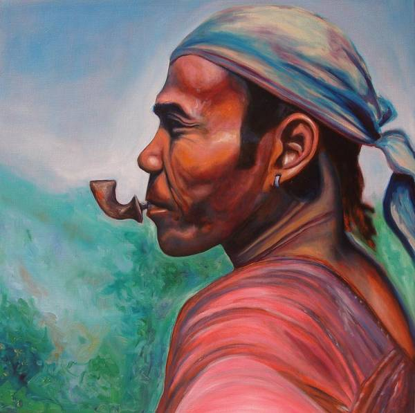 Portrait Poster featuring the painting Man In The Hills Of Chiang Rai by Kennedy Paizs