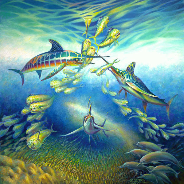 Mahi Mahi Poster featuring the painting Marlin Frenzy by Nancy Tilles