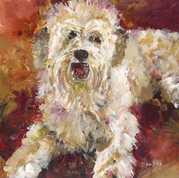 Dog Poster featuring the painting Mini Doodle Impression by Karen Ahuja