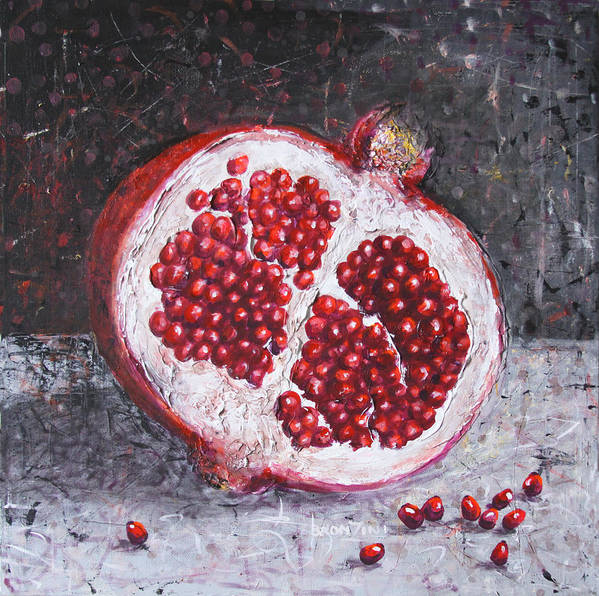 Abstract Poster featuring the painting Pomegranate by Lolita Bronzini