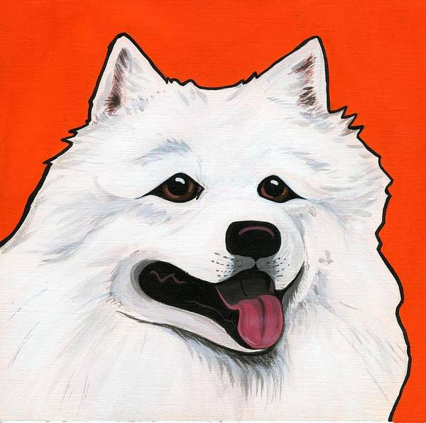 Dog Poster featuring the painting Samoyed by Leanne Wilkes