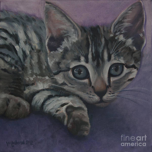 Cat Poster featuring the painting Soffe by Suzn Art Memorial