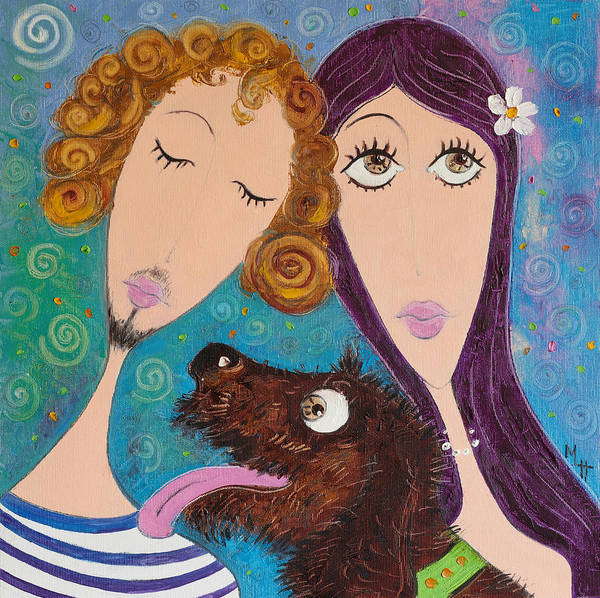 Dog Poster featuring the painting Tenderness by Maria Nikolova
