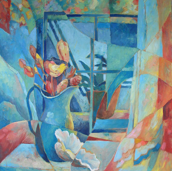Still Life Poster featuring the painting Window In Blue by Susanne Clark