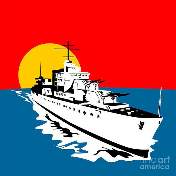 Battleship Poster featuring the digital art World War Two Battleship Warship Cruiser Retro by Aloysius Patrimonio