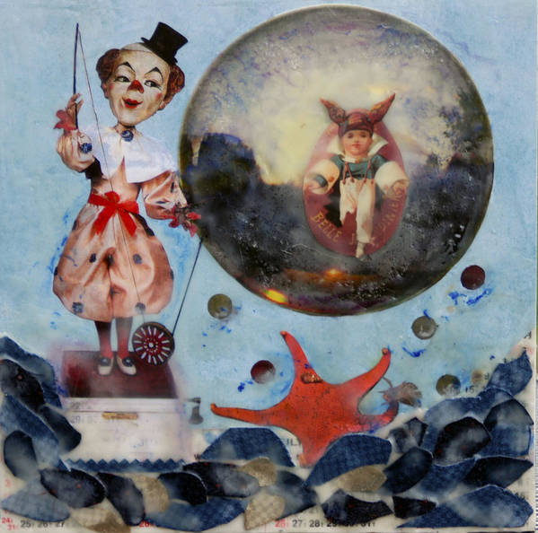 Whimsical Poster featuring the mixed media Mechanical Conjurer by Mirinda Kossoff