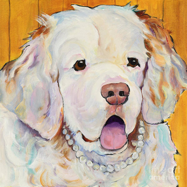 Dog With Pearls Poster featuring the painting Pearl by Pat Saunders-White