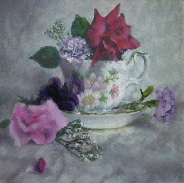 Floral Poster featuring the painting Teacup Rose by Jill Brabant