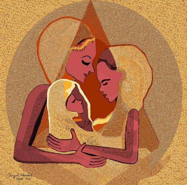 Women Poster featuring the digital art 158 - Women With Child 4 by Irmgard Schoendorf Welch