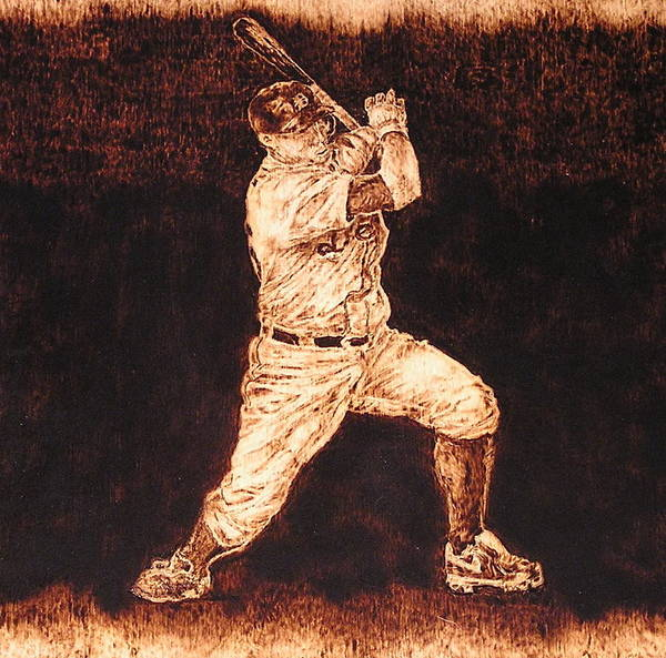 Sports Poster featuring the pyrography 3rd. Base by Dan LaTour