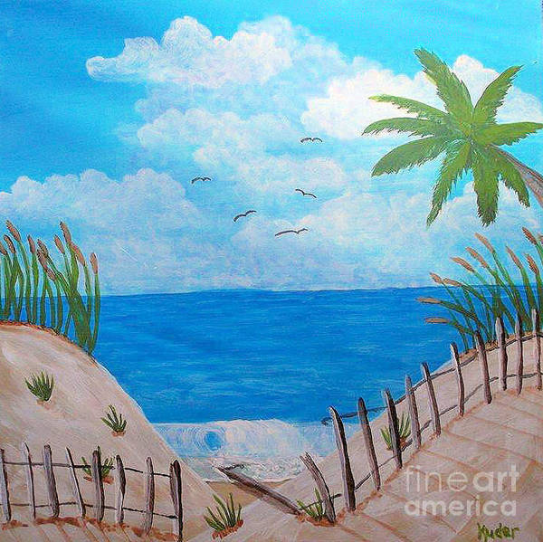 Seascape Poster featuring the drawing Beach by Sherri Gill