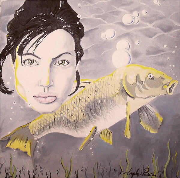 Angelina Poster featuring the painting A Fish Named Angelina by Joseph Palotas
