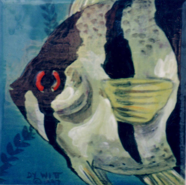 Fish Poster featuring the painting Angel Fish by Dy Witt