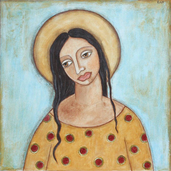 Folk Art Paintings Poster featuring the painting Angel Of Tolerance by Rain Ririn