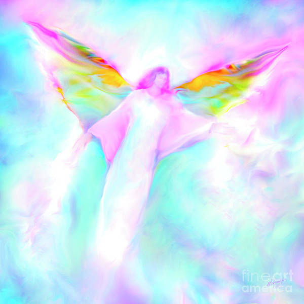 Angels Poster featuring the painting Archangel Gabriel In Flight by Glenyss Bourne