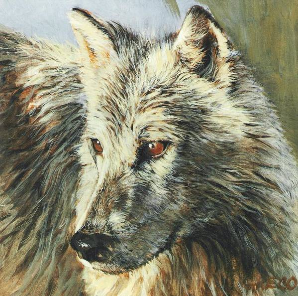 Wolf Poster featuring the painting Arctic Wolf by Steve Greco