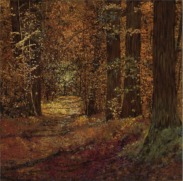 Piedmont Poster featuring the painting Autunno Nei Boschi by Guido Borelli