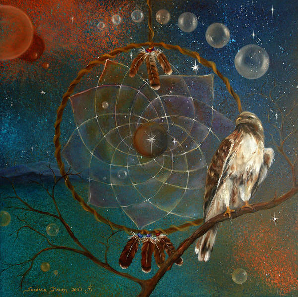 Red Tailed Hawk Poster featuring the painting Awakening Visionary Power by Sundara Fawn