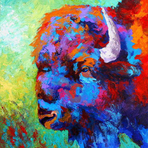 Wildlife Poster featuring the painting Bison Head II by Marion Rose