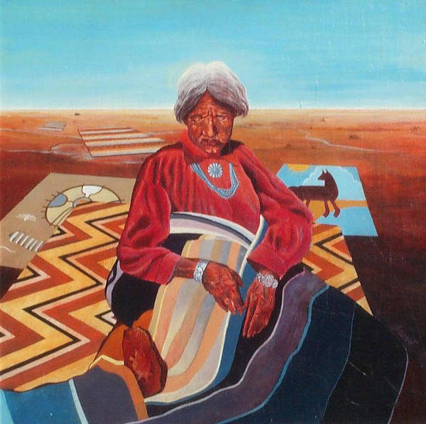Old Indian Woman Poster featuring the painting Blanket Weaver by Don Trout