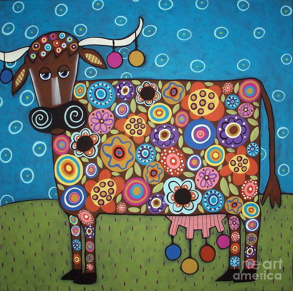 Cow Art Poster featuring the painting Blooming Cow by Karla Gerard