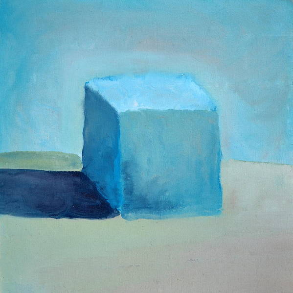 Blue Poster featuring the painting Blue Cube Still Life by Michelle Calkins