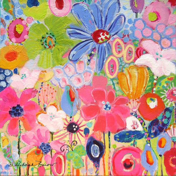 Blue Daisy Poster featuring the painting Blue Daisy Flower Garden by Deborah Burow