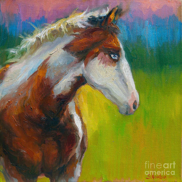 Paint Horse Painting Poster featuring the painting Blue-eyed Paint Horse Oil Painting Print by Svetlana Novikova