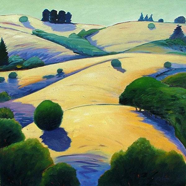 California Landscape Poster featuring the painting Blue Shadows Of Sunset by Gary Coleman